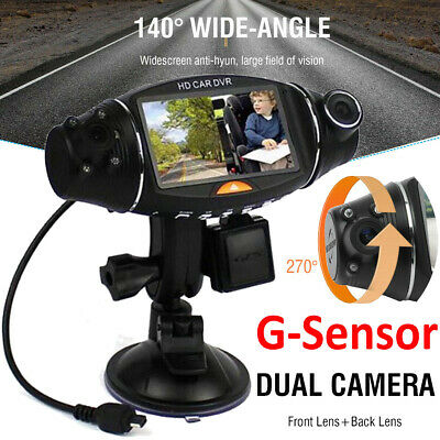 Vehicle Dash Cam HD Dual Lens Car Dashboard DVR Camera Video Recorder G-Sensor