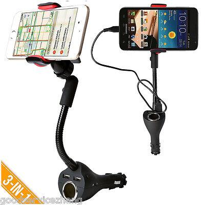 360 Car Smartphone Mount Holder Dual USB Charger PortCigarette Lighter Power