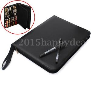 Luxury Black Fountain Pen/Roller Pen PU Leather Case Storage Holder for 48 Pens