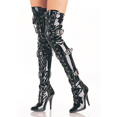 Thigh High Pleaser Boots (Pleaser SEDUCE-3028 Women's Single Soles Black Patent Thigh High Strappy)