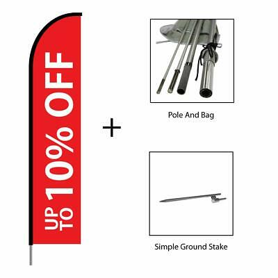 10 Off Sign Sale Banner Advertising Swooper Feather Flag Pole Kit 15ft - Red