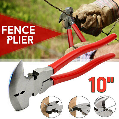 10'' Fence Pliers Parallel Jaws Soft Grip For Wire Cutters Fencing Hammer Tool 10 Parallel Jaw Grip