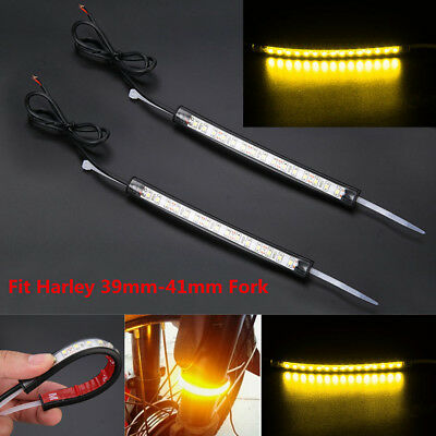 12V Motorcycle 39mm-41mm Fork LED Turn Signal Light Strip Amber Lamp For Harley