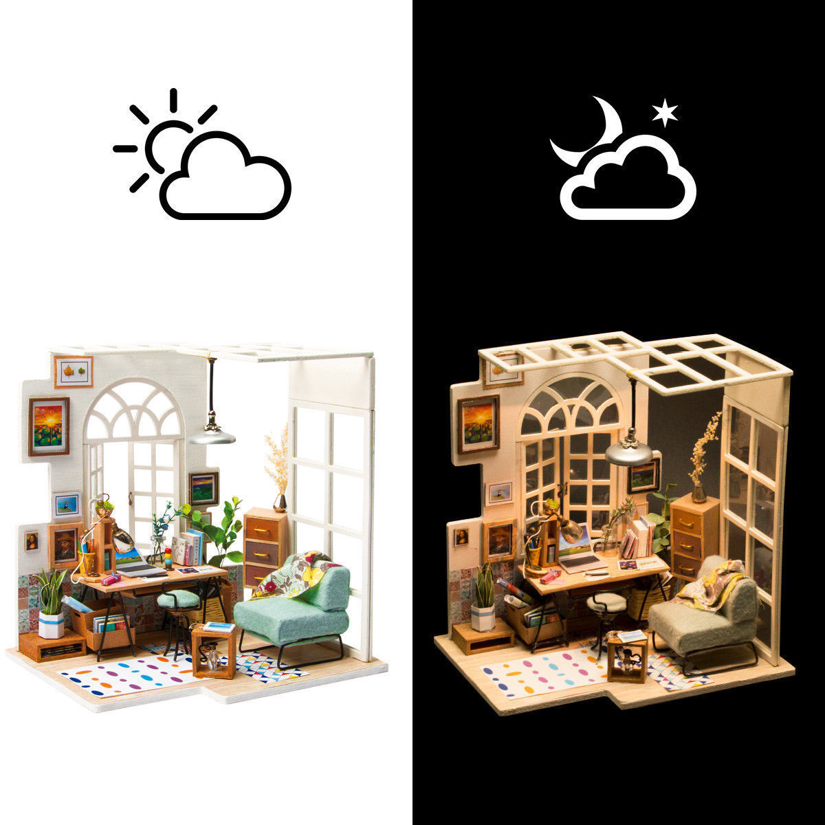 ROBOTIME DIY Wooden Miniature Dollhouse Kit-Handcraft House Project Adult Girls