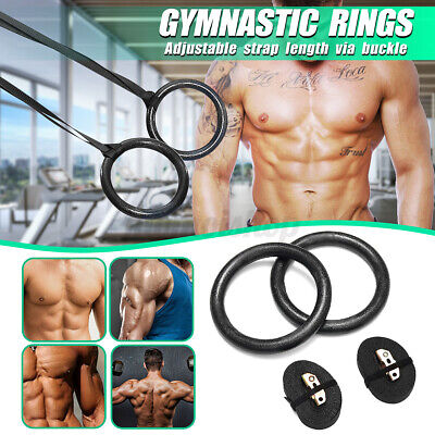 Fitness Wooden Gymnastic Rings with Straps Gym Strength Training Pull Up Pair