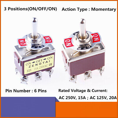 5x Toggle Switch Dpdt Momentary Onoffon Ac 15a250v 20a125v 6 Screw Terminals