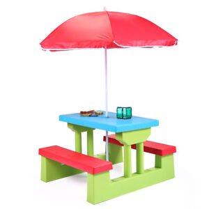 Picnic Table Kids Umbrella Play Set Outdoor Snacks Bench Children Patio Kid