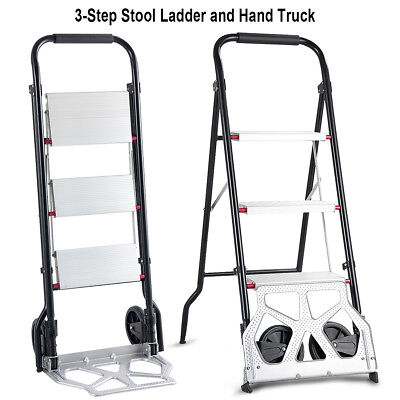 2-in-1 Convertible 3-step Ladder Hand Truck Trolley Cart Folding W Two Wheels
