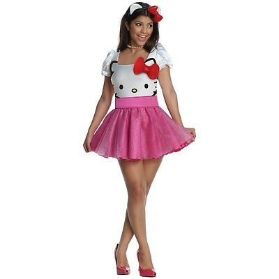 Hello Kitty Costume Adult Womens Sexy Halloween Fancy Dress - Womens Hello Kitty Costume