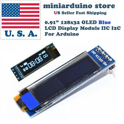 0.91 128x32 Iic I2c Blue Oled Display Diy Module Dc3.3v 5v 12832 Arduino