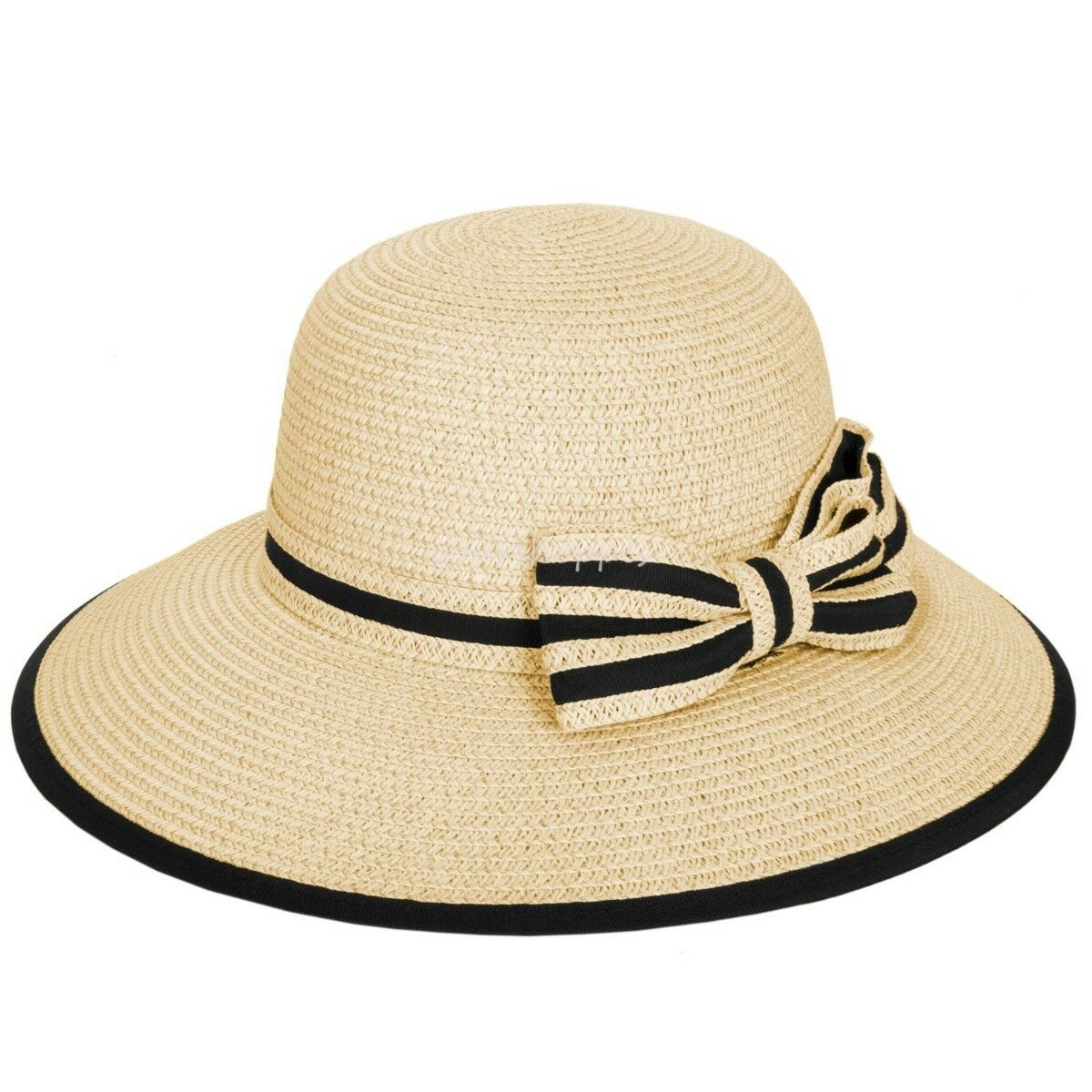 Details about Khaki Color Fashion Women Straw Floppy Hat Wide Brim Bow Sun  Beach Summer Cap 752859e88542
