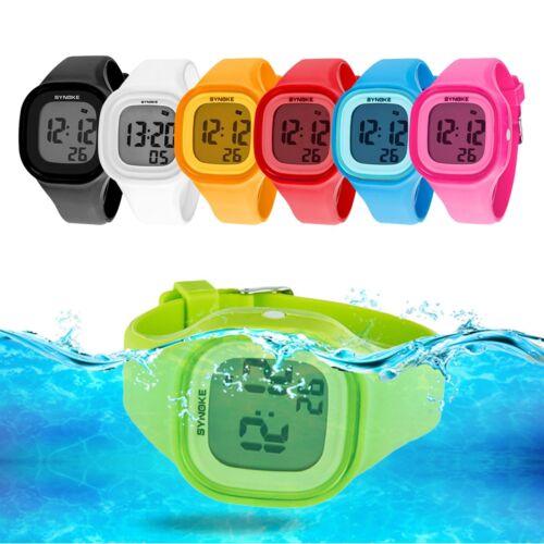 Men Women LED Soft Silicone Square Digital Wrist Watch Sport