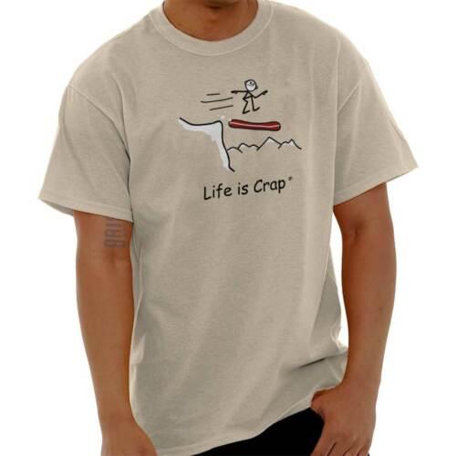 Life is Crap Snowboard Cliff Funny Shirt Sarcastic Gift Idea