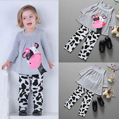 Toddler Kids Baby Girls Autumn Outfits Clothes T-shirt Tops Dress+Pants 2PCS Set