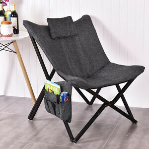 Folding Butterfly Chair Seat Solid Black Wooden Frame Home Office Furniture New