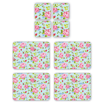 Cooksmart Vintage Floral Placemats and Coasters Table Mats Floral Blue Pink