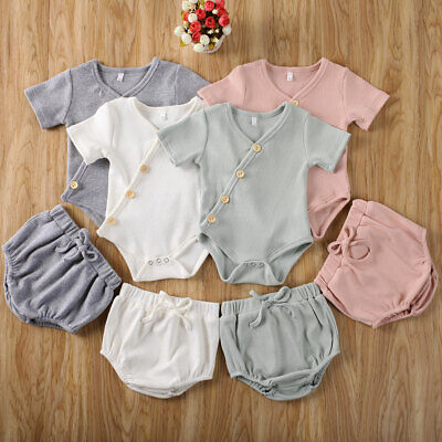 2PCS Newborn Baby Girl Boy Striped Romper Tops Shorts Pants Outfits Set Clothes