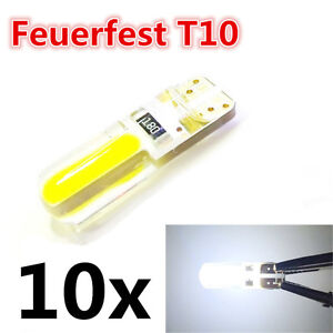 10 x LED T10 W5W CANBUS Chip COB Lampe Glassockel Weiß Auto InnenraumBeleuchtung