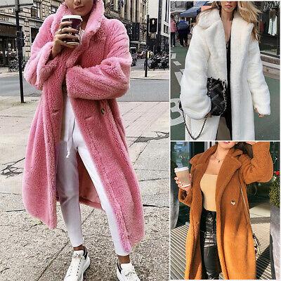 US Women Warm Teddy Bear Maxi Trench Coat Winter Long Faux Fur Jacket Outwear  Fur Coat Teddy Bears