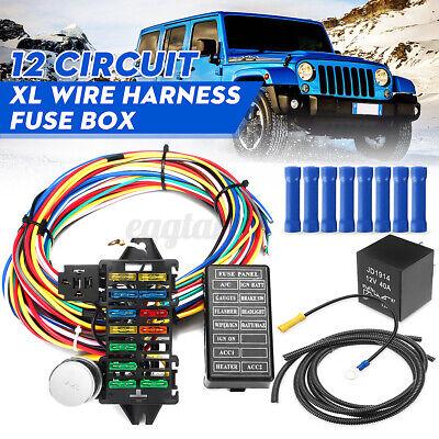 Universal Car 12Circuit Main Wiring Harness Loom Fuse Box Muscle Hot Street