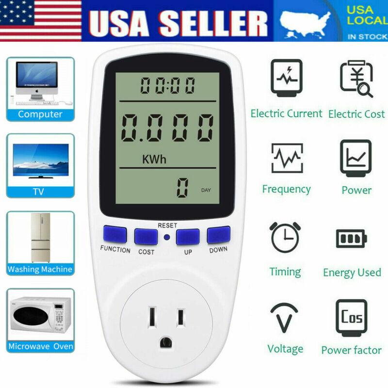 8Mode Electricity Usage Monitor Plug Power Watt Voltage Amps Meter Energy Saving
