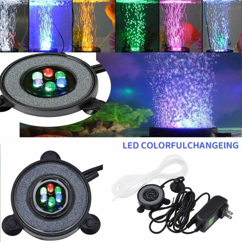 Color Changing LED Aquarium Bubble Round Fish Tank Air Stone Disk Accessories US