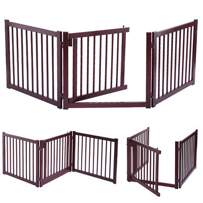 """24"""" Wood Construction Pet Fence Gate Free Standing Dog Gate Indoor Solid"""