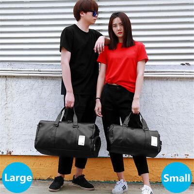 Gym Tote Bag (Men Women Leather Gym Sport Shoulder Bag Travel Overnight Luggage Handbag Tote)