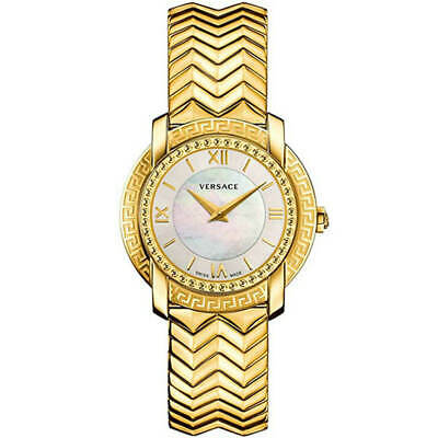 Versace Women's Watch DV25 White MOP Dial Yellow Gold Bracelet VAM040016