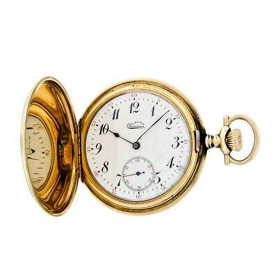 Antique Gruen Precision Pocket Watch in Etched Solid 14K Yellow Gold Hunter -