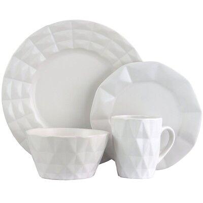 Elama ELM-RETROCHIC-WHITE Retro Chic 16-Piece Glazed Dinnerware Set in White - Retro Dinnerware Sets