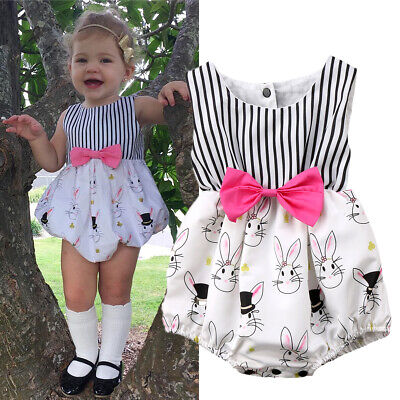 Baby Easter Costumes (US Stock Newborn Baby Girls Easter Bunny Clothes Romper Bodysuit Outfits)