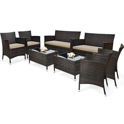 8 PC Patio Rattan Sofa Set Outdoor Patio PE Cushioned Couch Wicker Furniture