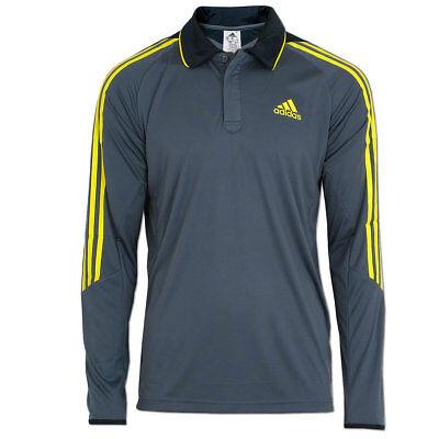 adidas Herren 3-Streifen Langarm Shirt Longsleeve Polo Präsentations Poloshirt ()
