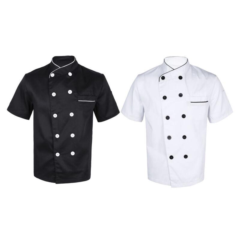 Plus* Chef Apparel Unisex Short Sleeve Chefs Jacket Coat Restaurant Cook Uniform