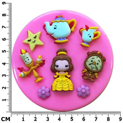 Beauty & Beast Belle Mrs Potts Chip Lumiere Silicone Mould by Fairie Blessings