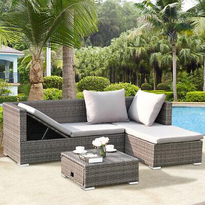 Garden Furniture - 3PCS Rattan Wicker Sofa Furniture Set Steel Frame Adjustable Seat Patio Garden