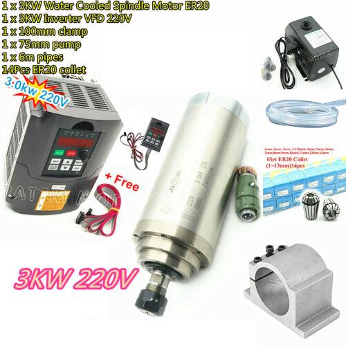3KW VFD Inverter+ Water Cooled Spindle Motor ER20 +100mm Clamp+Pump+Pipe+Collets