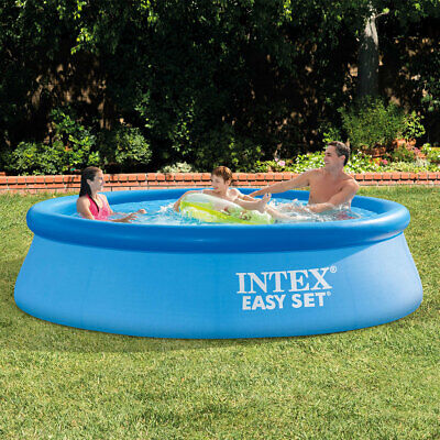 Intex 10ft Inflatable Ring Pool + Water Filter Pump Summer Garden Swim Easy Set