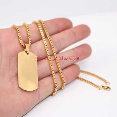 Gold Stainless steel Plain Dog Tag Army Pendant Necklace Rolo Chain 2.4mm 24'' (Plain Dog Tag Necklace)