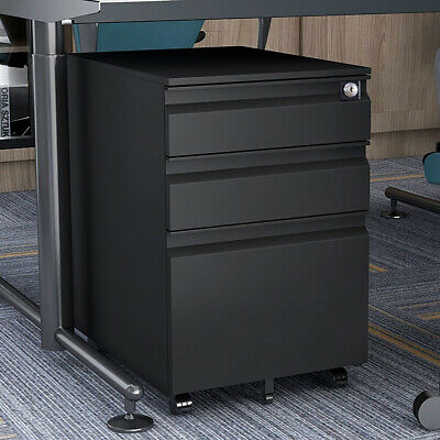 Metal File Cabinet Wlock Mobile Filing Lateral Cabinet With 3 Storage Drawers