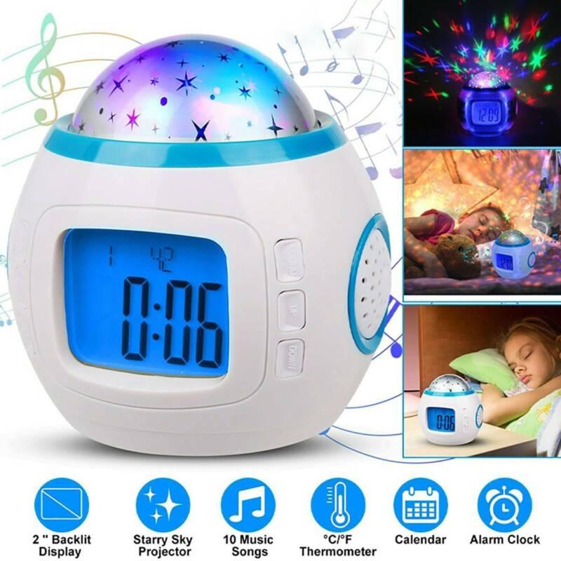 LED Wecker für Kinder mit buntem Musik Sternenhimmel Nachtlicht Lampe Projektor