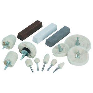 14 Pc Assorted Shape Aluminum Drill Polishing Kit 1/4 In Shank Buffing Cloth Pad