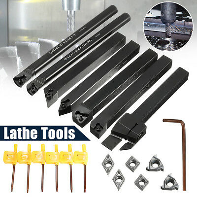 7pc Set Of 10mm Lathe Turning Tool Holder Boring Bar W Dcmtccmt Carbide Insert
