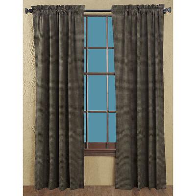 "KETTLE GROVE WINDOW PANEL SET 84"" x 40"" : COUNTRY Bad TAN PLAID CURTAIN DRAPES"