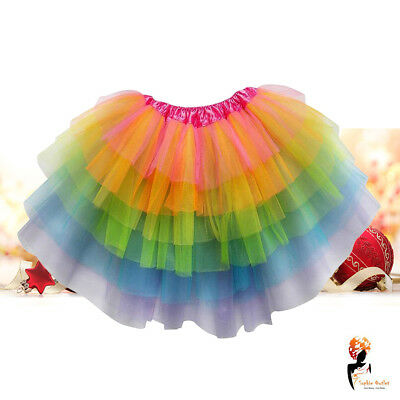 Ladies Girls Christmas Rainbow magical Costume Skirt unicorn Fancy Dress Tutu (Magical Costume)