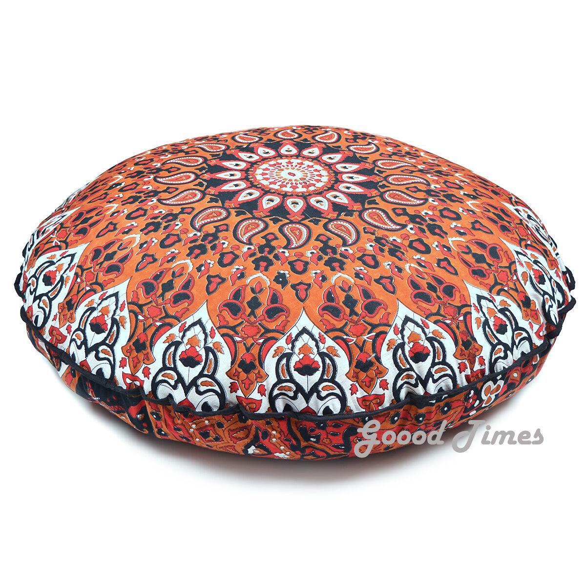 Throw Pillow Cushion Cover Mandala Round Floor Case Indian H