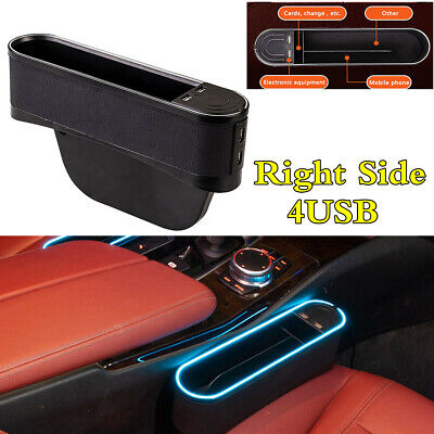 PU Leather Blue Ambient Light 4USB Ports Car Right Seat Side Crevice Storage Box