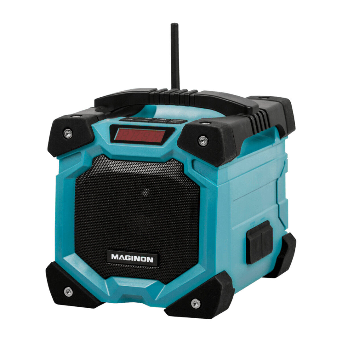 Akku Baustellenradio Radio AUX IN + Bluetooth | Wasserdicht IP45 Li-Ionen blau