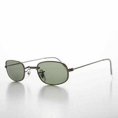 Gunmetal Small Rectangular Frame 90s Vintage Sunglass with Glass Lens- (Declan Sunglasses)
